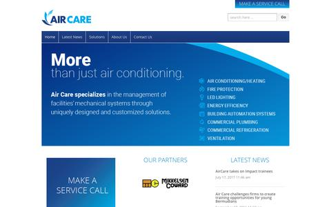 Screenshot of Home Page aircare.bm - Air Care - captured Oct. 7, 2017