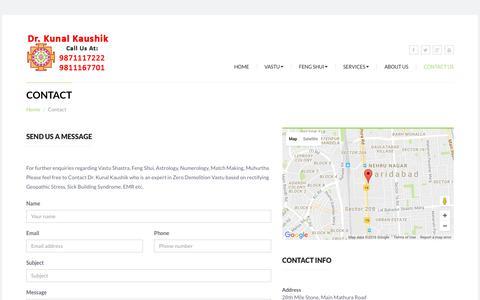 Screenshot of Contact Page kunalvastu.com - Contact Us, Kunal Vastu, KunalVastu.com, Contact Kunal Kaushik, World Most Famous Vastu Expert, Kunal Vastu Consultant, Famous Vastu Expert, support@kunalvastu.com, Kunal Vaastu - captured Aug. 9, 2016