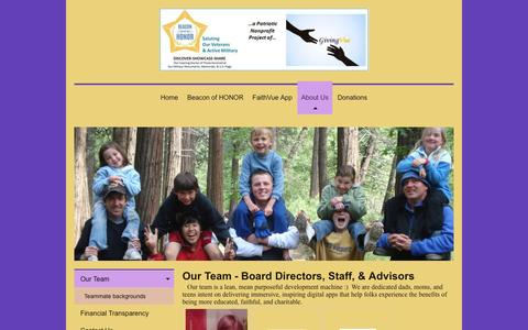 Screenshot of Team Page faithvu.org - Beacon of Honor - a GivingVue nonprofit project - Our Team - captured Nov. 7, 2016