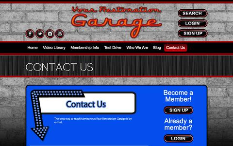 Screenshot of Contact Page yourrestorationgarage.com - Contact Us | Your Restoration Garage - captured Oct. 25, 2014