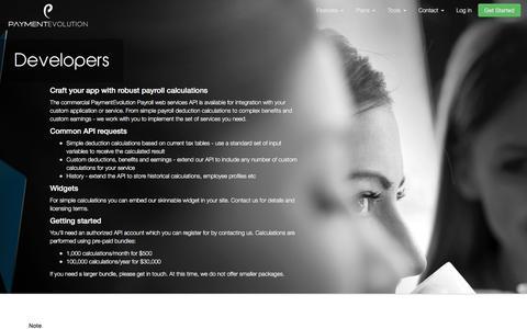Screenshot of Developers Page paymentevolution.com - Payroll Software Canada, Payroll API & Widgets For Developers from PaymentEvolution - captured May 15, 2017