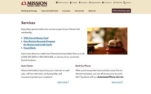 Screenshot of Services Page missionfed.com - Learn More About Credit Union Financial Services - Mission Fed - captured Oct. 18, 2018