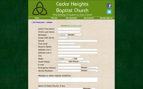 Screenshot of Signup Page chbcnlr.com - Cedar Heights Baptist Church - AWANA - captured Oct. 2, 2014