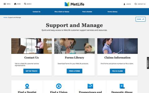 Screenshot of Support Page metlife.com - Support and Manage | MetLife - captured July 19, 2019