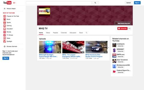 Screenshot of YouTube Page youtube.com - MHQ TV  - YouTube - captured Oct. 23, 2014