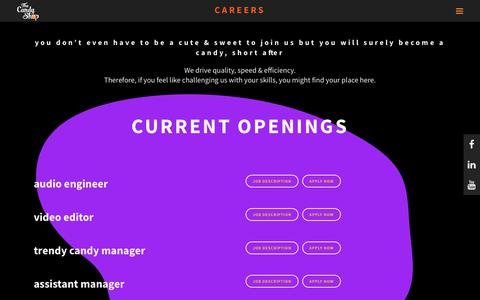 Screenshot of Jobs Page thecandyshop.ro - The Candy Shop |   Careers - captured Oct. 20, 2018