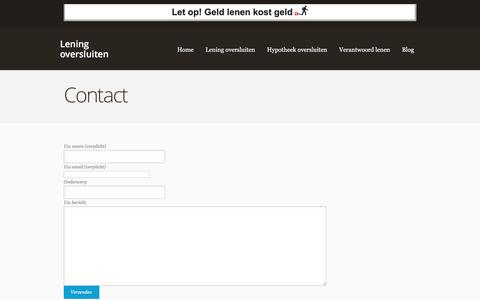 Screenshot of Contact Page leningoversluiten.co - Contact - Lening oversluiten - captured March 13, 2016