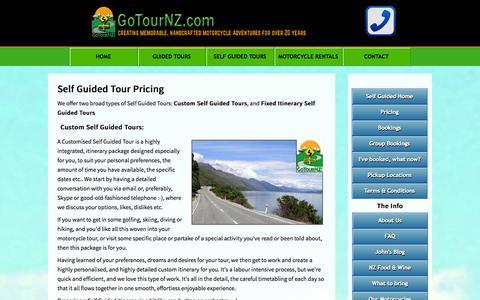 Screenshot of Pricing Page gotournz.com - GoTourNZ - Self Guided Tours : Self Guided Tour Pricing - captured Nov. 2, 2014