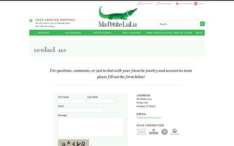 Screenshot of Contact Page mapetitelulu.com - The accessory finishing school for girls - captured Dec. 24, 2016
