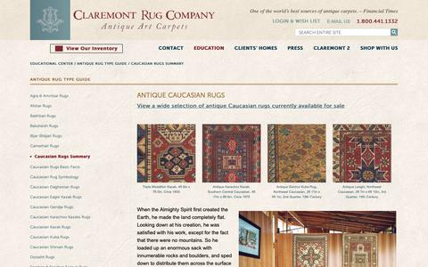 Screenshot of About Page claremontrug.com - A Guide to Antique Caucasian Rugs- Claremont Rug Company - captured Sept. 28, 2018