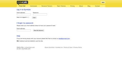 Screenshot of Login Page gymcalc.com - Log in to GymCalc - captured Sept. 30, 2014