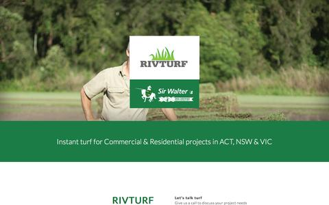 Screenshot of Home Page rivturf.com.au - Rivturf - instant turf for Wagga NSW, Canberra ACT & Melbourne VIC - captured Aug. 18, 2016