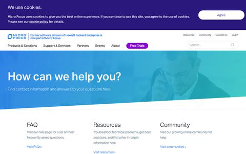 Screenshot of Support Page microfocus.com - Contact Landing page - captured July 20, 2018
