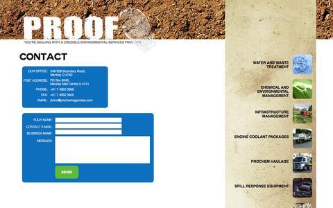 Screenshot of Contact Page prochemagencies.com - Prochem Agencies - Mackay - Queensland - captured Sept. 30, 2014