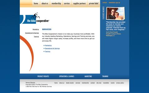 Screenshot of Services Page thebikecooperative.com - The Bike Cooperative, marketing, advertising strategy and consultation services for bicycle retailers - captured Dec. 5, 2015