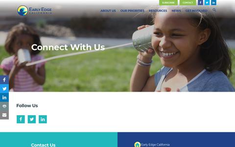 Screenshot of Contact Page earlyedgecalifornia.org - Connect With Us On Education And Development - Early Edge California - captured Nov. 11, 2018