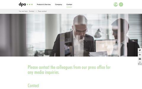 Screenshot of Press Page dpa.com - dpa: Press contact - captured Oct. 9, 2018
