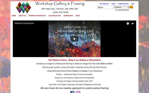 Screenshot of Home Page workshopgallery.ca captured Nov. 6, 2017