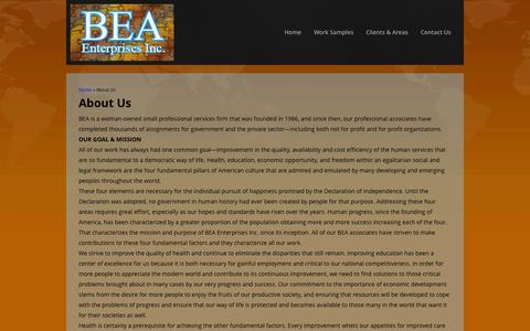 Screenshot of About Page bea-enterprises.com - About Us | bea-enterprises.com - captured Oct. 4, 2014