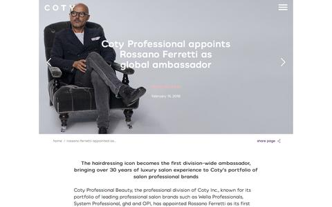 Screenshot of Press Page coty.com - Rossano Ferretti appointed as global ambassador | coty.com - captured July 9, 2018
