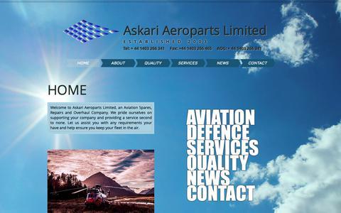 Screenshot of Home Page askari.aero - Aviation Spares Provider - captured Oct. 4, 2018