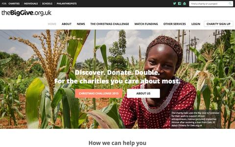 Screenshot of Home Page thebiggive.org.uk - Home - The Big Give - captured Jan. 20, 2016