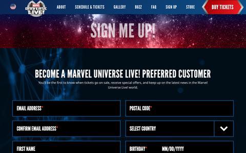 Screenshot of Signup Page marveluniverselive.com - Sign Up | Marvel Universe Live! - captured Nov. 8, 2018