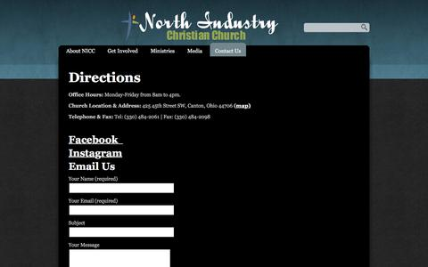 Screenshot of Contact Page nicconline.com - Contact Us «  North Industry Christian Church - captured Feb. 15, 2016
