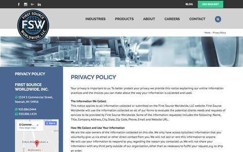 Screenshot of Privacy Page fsw.cc - Privacy Policy   First Source Worldwide, LLC - captured Nov. 25, 2016