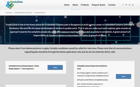 Screenshot of Jobs Page tronicszone.com - Embedded Systems Jobs @ TronicsZone Bangalore - captured Oct. 20, 2018