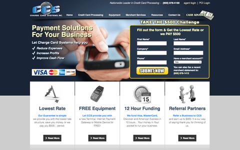 Screenshot of Home Page chargecardsystems.com - Credit Card Services | Payment Processing Services | Charge Card Systems - captured Sept. 29, 2014