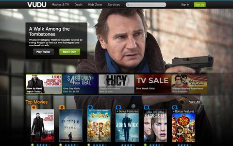 Screenshot of Home Page vudu.com - VUDU - Rent, buy & watch HD movies and TV shows on-demand - captured Jan. 14, 2015