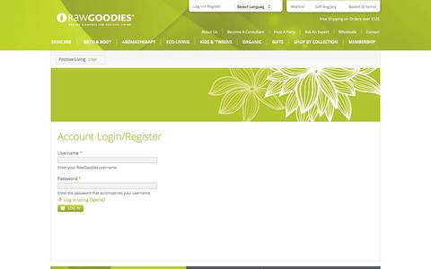 Screenshot of Login Page rawgoodies.com - User account | RawGoodies - captured Aug. 12, 2016