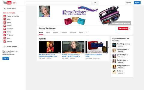 Screenshot of YouTube Page youtube.com - Purse Perfector  - YouTube - captured Oct. 23, 2014
