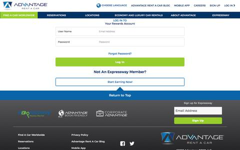 Screenshot of Login Page advantage.com - User Login   Advantage Rent A Car - captured Jan. 19, 2020