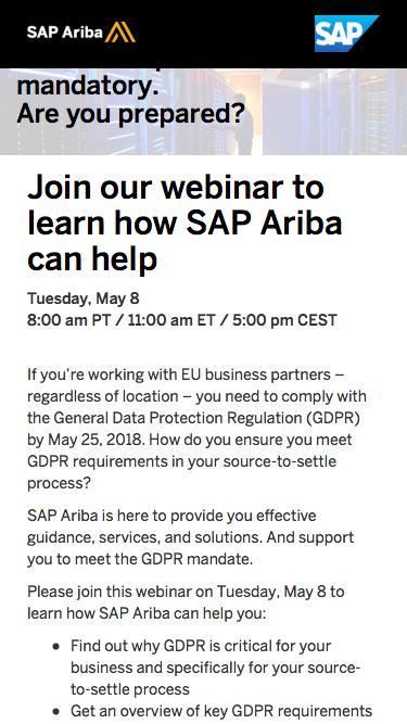 GDPR Webinar | SAP Ariba