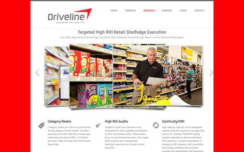 Screenshot of Services Page drivelineretail.com - DRIVELINE RETAIL - DRIVING YOUR BUSINESS - captured Sept. 18, 2014