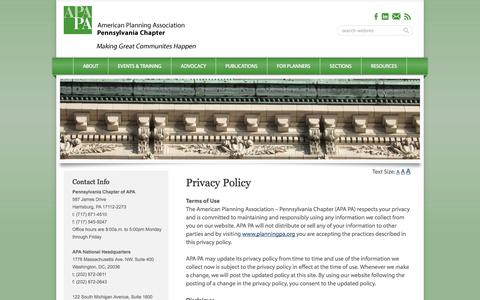 Screenshot of Privacy Page planningpa.org - Privacy Policy - captured Oct. 2, 2014
