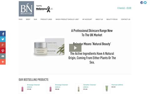 Screenshot of Home Page belnatur.co.uk - Belnatur - Our products treat every type of skin concern from dry to oily, acne to ageing and everything associated with these conditions - captured Oct. 5, 2014