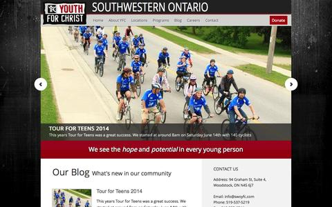 Screenshot of Home Page swoyfc.com - Southwestern Ontario — Youth for Christ/Youth Unlimited - captured Oct. 6, 2014