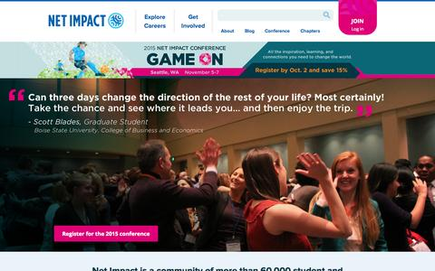 Screenshot of Home Page netimpact.org - Net Impact - captured Oct. 2, 2015