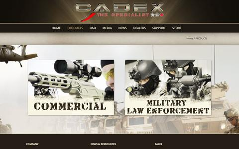 Screenshot of Products Page cadexdefence.com - PRODUCTS - Cadex Defence - captured Sept. 26, 2014