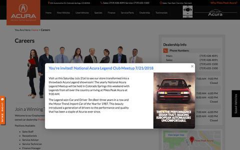 Screenshot of Jobs Page pikespeakacura.com - Colorado Springs Dealership Automotive Jobs | Pikes Peak Acura - captured July 18, 2018