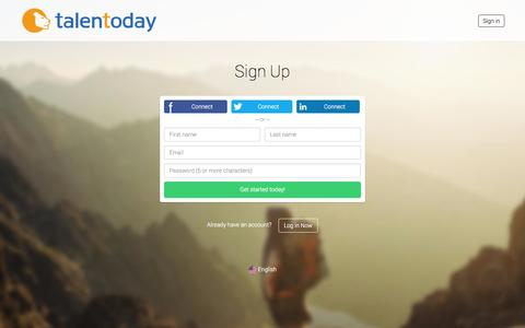 Screenshot of Signup Page talentoday.com - Sign Up | Talentoday - captured Oct. 28, 2014
