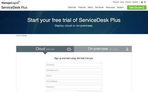 Screenshot of Trial Page manageengine.com - Cloud help desk software | Download on-premises service desk software - captured July 11, 2018
