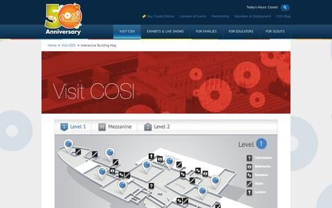 Screenshot of Maps & Directions Page cosi.org - COSI - Interactive Building Map - captured Sept. 19, 2014