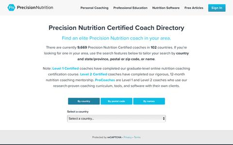 Precision Nutrition Certified Coach Directory