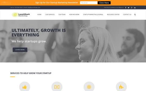Screenshot of Home Page launchhawk.com - LaunchHawk Marketing | Growth Consulting For Startups - captured June 17, 2015