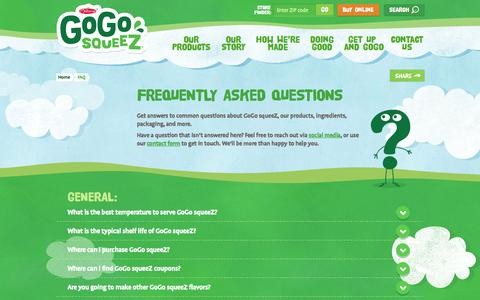 Screenshot of FAQ Page gogosqueez.com - FAQ - GoGo squeeZ - captured Oct. 2, 2015