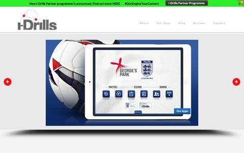 Screenshot of Home Page i-drills.com - i-Drills Apps - Professional Soccer Football Rugby MultiSport Drills - captured Oct. 6, 2014